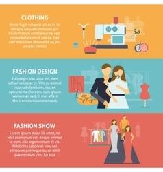 Clothes designer horizontal banners set vector