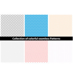 Collection of simple colorful seamless patterns vector