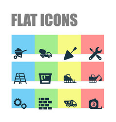 construction icons set collection of tractor vector image