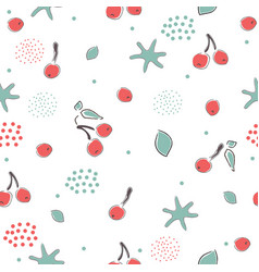 cute seamless winter pattern with red berries vector image vector image