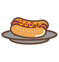 dish with delicious hot dog vector image