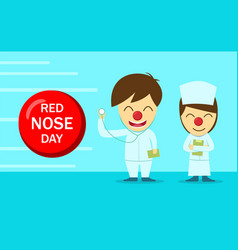 doctor and nurse in red nose day design vector image vector image
