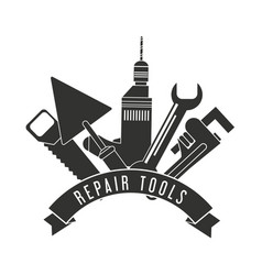 Drill spatula saw wrench tool icon repair concept vector