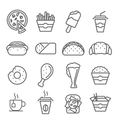 Fast food art line icons vector image