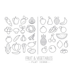 Flat fruits vegetables icons vector