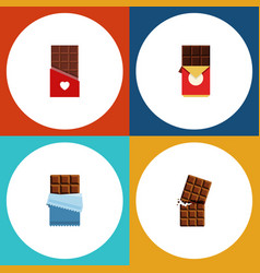 Flat icon sweet set of bitter chocolate vector