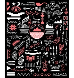 Hand drawn elements on a black background vector image vector image