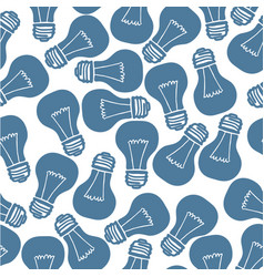 hand drawn light bulb seamless pattern vector image vector image