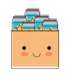 Kawaii paper bag with canned beers in watercolor vector