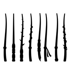 magic wands silhouette on a white background vector image