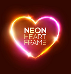 neon heart sign 3d retro light signboard vector image
