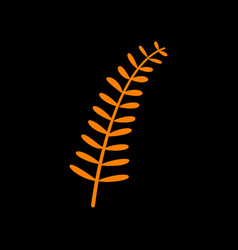 Olive twig sign orange icon on black background vector