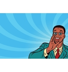 Pop art promo businessman in glasses vector