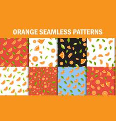 seamless floral pattern set orange fruits vector image vector image
