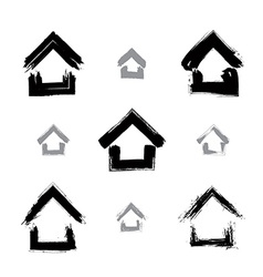 Set of hand-drawn monochrome home icons collection vector image