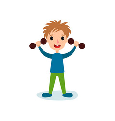 Smiling little boy character exercising with vector