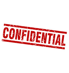 square grunge red confidential stamp vector image