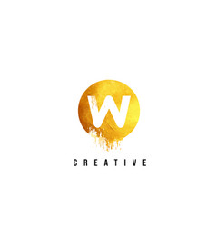 W gold letter logo design with round circular vector