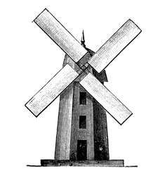Windmill vintage engraving vector