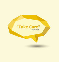 yellow polygonal geometric speech bubble vector image vector image