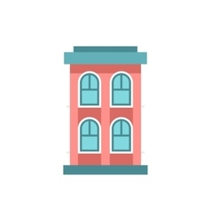 Pink two storey house icon flat style vector