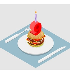 9 years birthday burger hamburger and candle vector