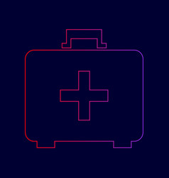 Medical first aid box sign  line icon with vector