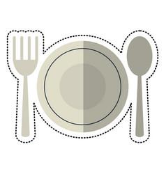 cartoon plate spoon fork utensils vector image