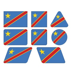 Buttons with flag of dr congo vector