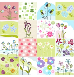 Floral Seamless Patterns vector image