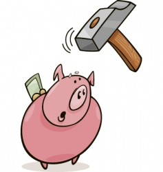 Frightened piggy bank and hammer vector