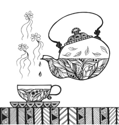 Teapot and cup with steam standing on table vector