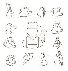Farm animals linear icons set thin lines vector