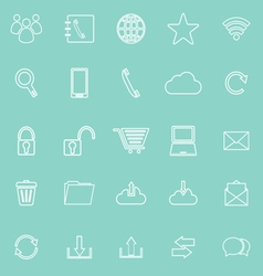 Communication line icons on green background vector