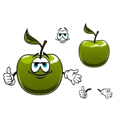 Green apple fruit cartoon character with thumb up vector