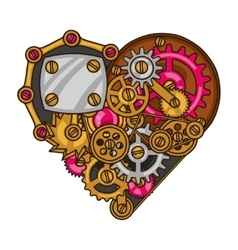 Steampunk heart collage of metal gears in doodle vector image
