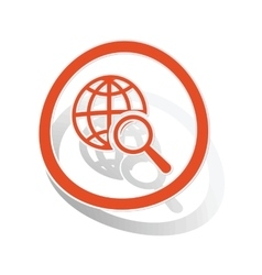 Global search sign sticker orange vector