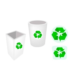 Two recycle garbage can and recycle icons vector