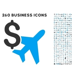 Aviation business icon with flat set vector