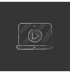 Laptop with play button on screen drawn in chalk vector