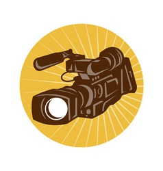Professional video camera camcorder retro vector