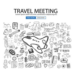 Travel for business concept with doodle design vector