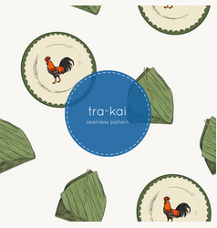Banana leaf and tra-kai plate traditional of vector