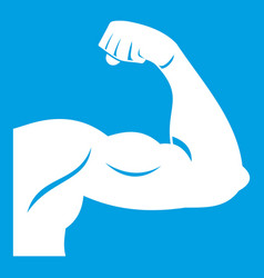 Biceps icon white vector