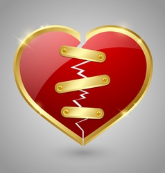 Broken and repaired heart icon vector image