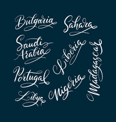 Bulgaria and madagaskar hand written typography vector
