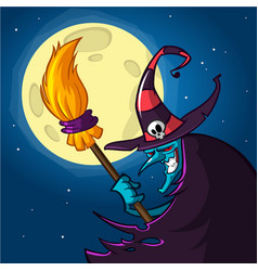 cartoon witch with a broom halloween vector image vector image