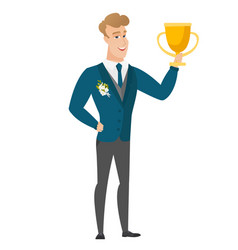 Caucasian groom holding a trophy vector