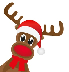 Christmas reindeer in a red scarf vector image vector image