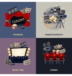 Cinema Flat Set vector image vector image